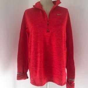 Nike waffle dri-fit long sleeve 3/4 zip red Sz LG